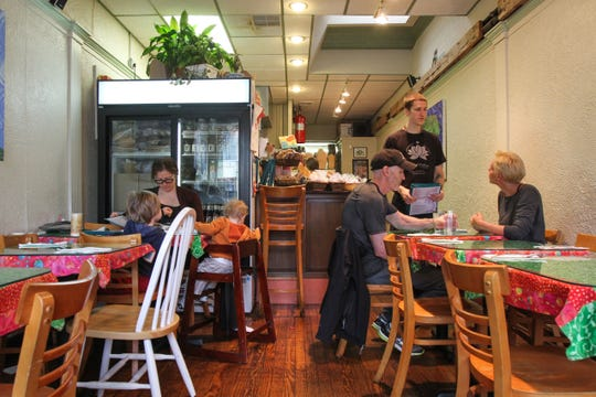 The dining room of Good Karma Cafe in Red Bank.