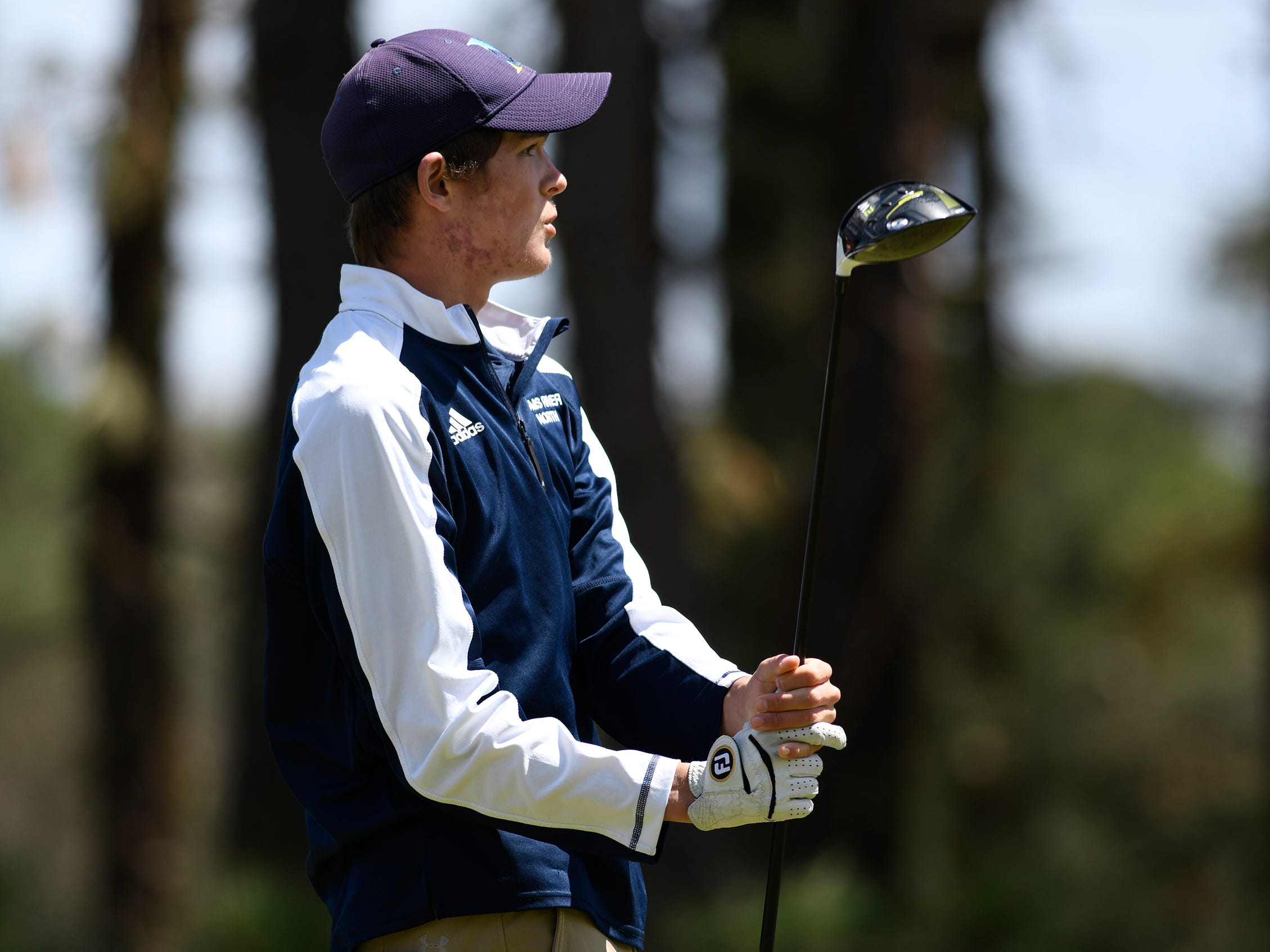 Connor Bekefi of Tome River North competes at the Ocean County Tournament on April 15, 2019,  at Sea Oaks in Little Egg Harbor.  Connor Bekefi emerged as the individual champion with a 3-over-par 75, four shots better than teammate Leo Kane. Toms River North successfully defended its team title, posting a total of 336, which was 18 shots better than Southern. Brick Memorial finished third.