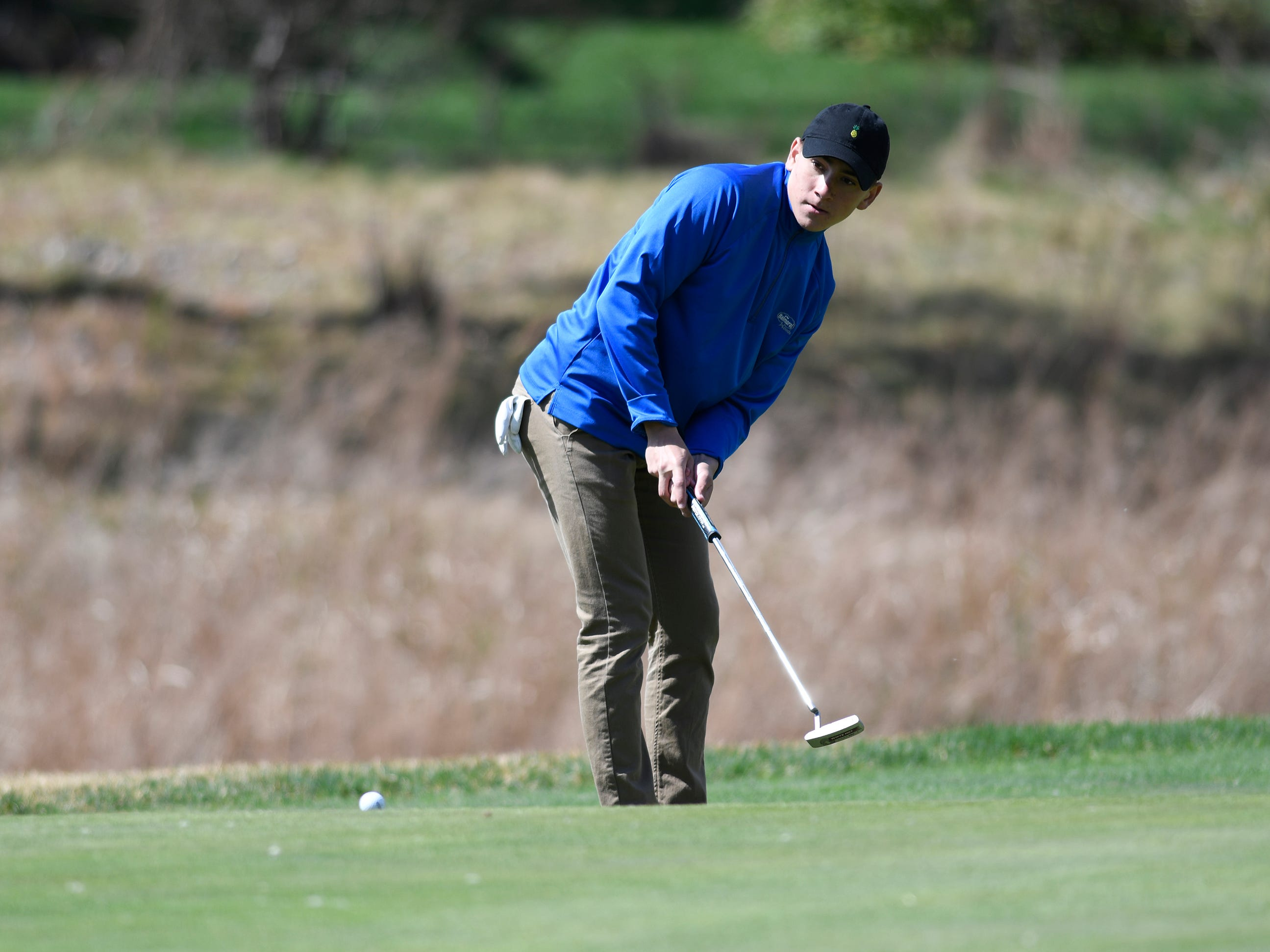 Evan Velasquez of Brick Memorial competes at the Ocean County Tournament on April 15, 2019,  at Sea Oaks in Little Egg Harbor. Toms River North's Connor Bekefi emerged as the individual champion with a 3-over-par 75, four shots better than teammate Leo Kane. Toms River North successfully defended its team title, posting a total of 336, which was 18 shots better than Southern. Brick Memorial finished third.