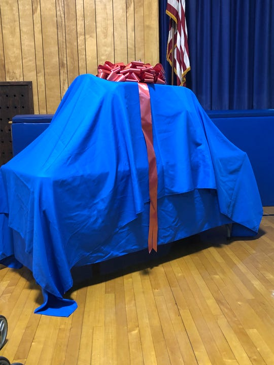 The customized mini-BMW wrapped up for 2-year-old Noah Salkowitz at Cove Road School in Hazlet.
