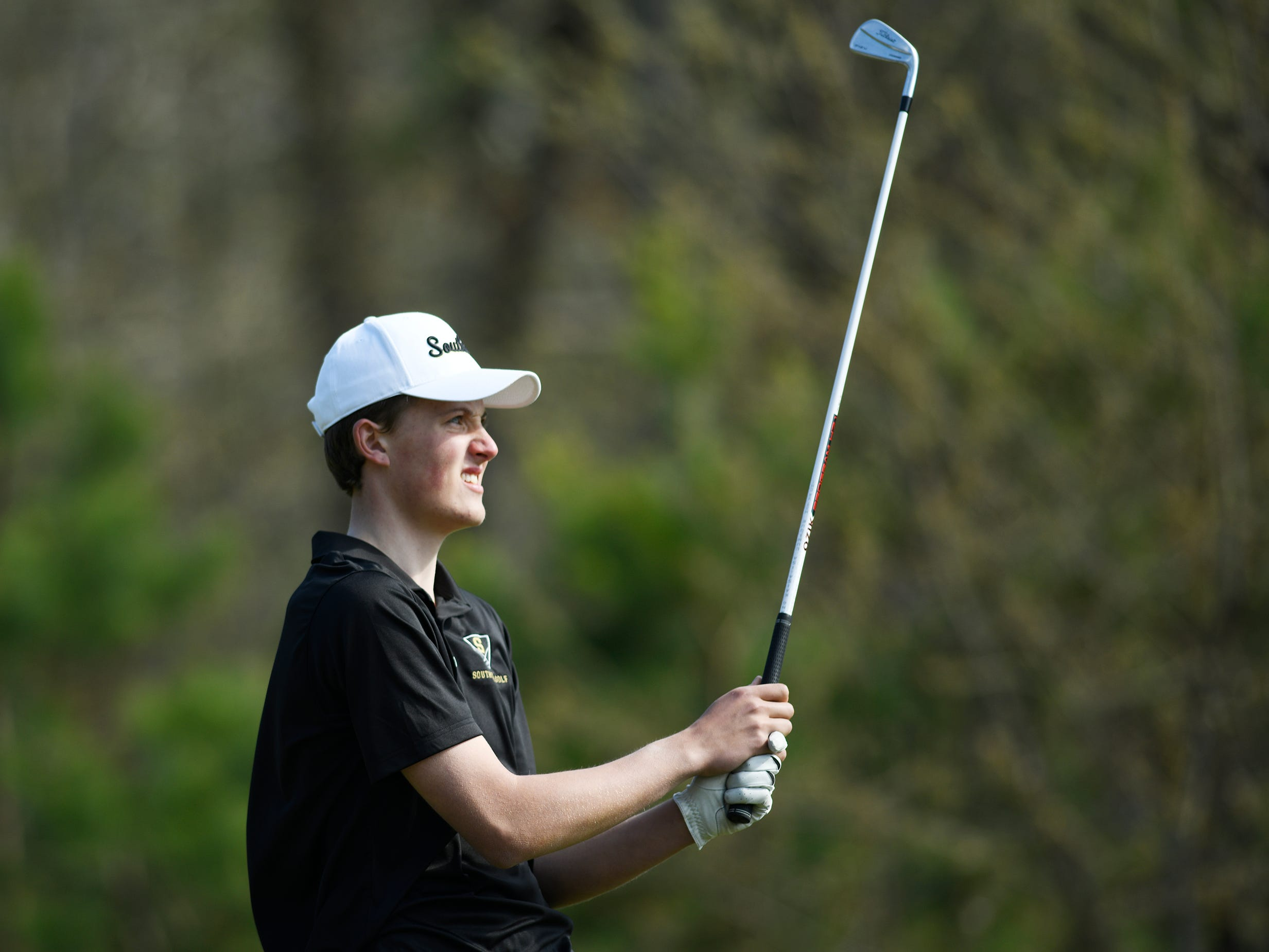 Lasse Lehmann of Southern Regional High School competes during the Ocean County Tournament at Sea Oaks Country Club in Little Egg Harbor on Monday, April 15, 2019.