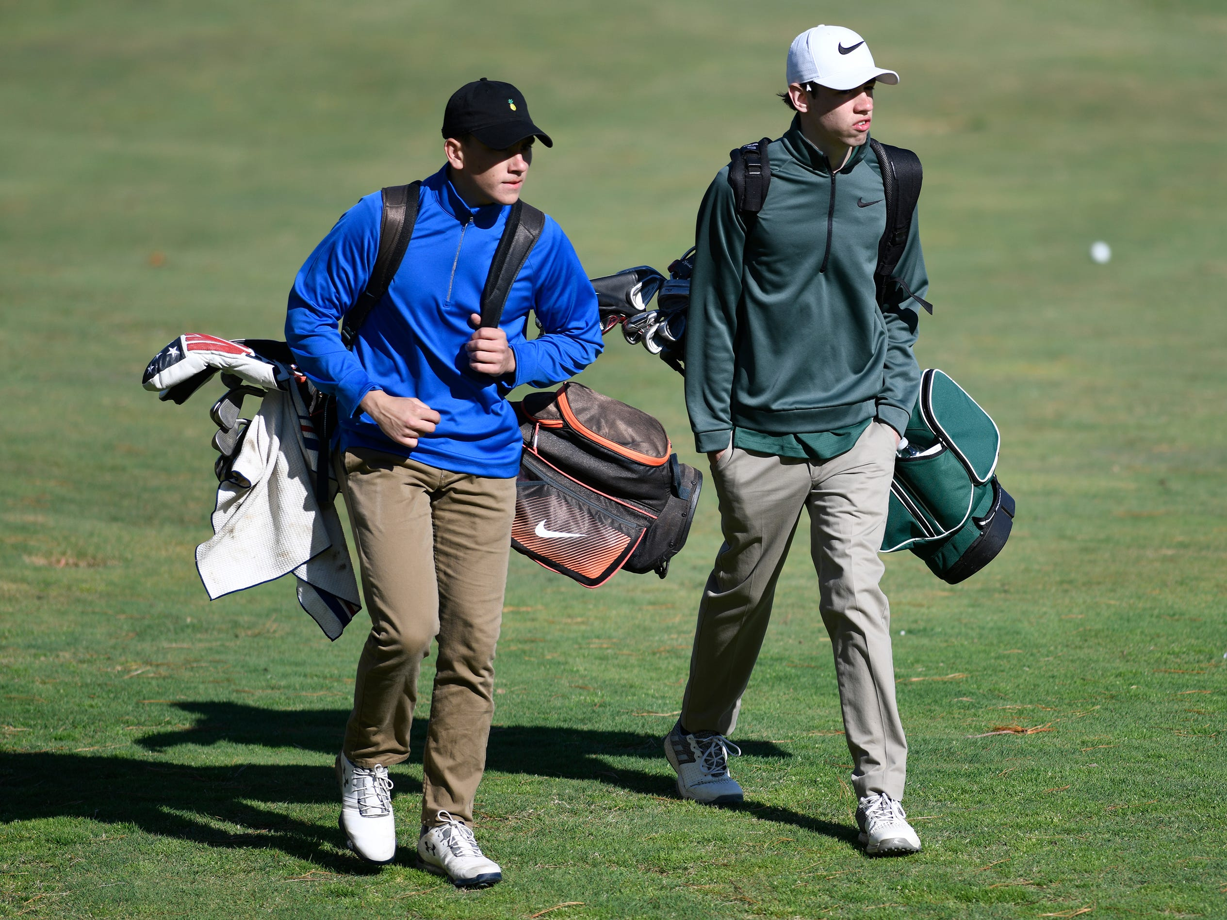 Evan Velasquez of Brick Memorial, left, and Austin Carney of Pinelands Regional competes at the Ocean County Tournament on April 15, 2019,  at Sea Oaks in Little Egg Harbor. Toms River North's Connor Bekefi emerged as the individual champion with a 3-over-par 75, four shots better than teammate Leo Kane. Toms River North successfully defended its team title, posting a total of 336, which was 18 shots better than Southern. Brick Memorial finished third.
