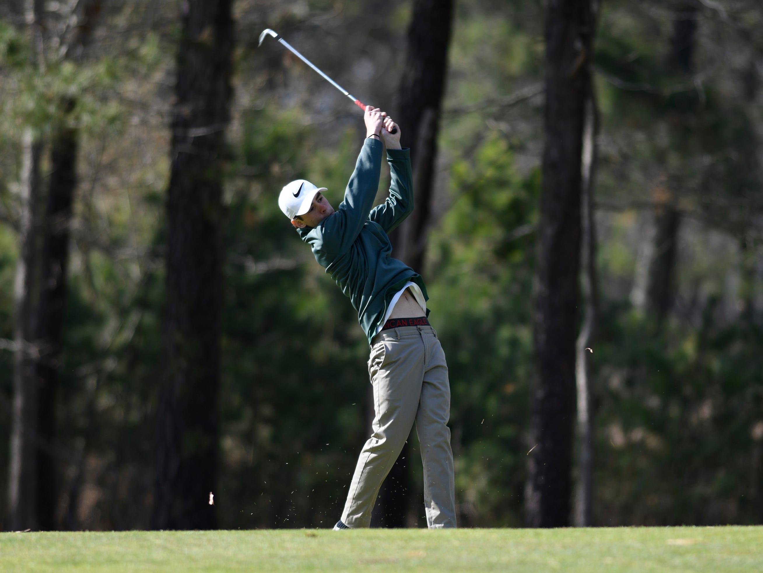 Austin Carney of Pinelands Regional High School competes at the Ocean County Tournament on April 15, 2019,  at Sea Oaks in Little Egg Harbor. Toms River North's Connor Bekefi emerged as the individual champion with a 3-over-par 75, four shots better than teammate Leo Kane. Toms River North successfully defended its team title, posting a total of 336, which was 18 shots better than Southern. Brick Memorial finished third.