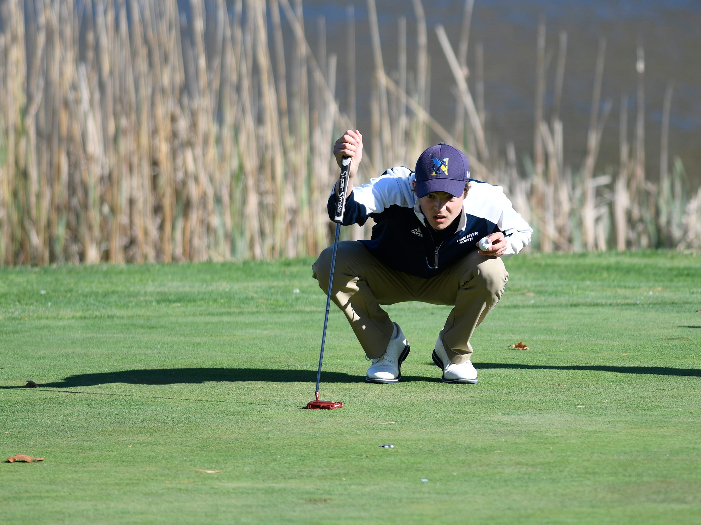 Connor Bekefi of Tome River North competes at the Ocean County Tournament on April 15, 2019,  at Sea Oaks in Little Egg Harbor. Toms River North's Connor Bekefi emerged as the individual champion with a 3-over-par 75, four shots better than teammate Leo Kane. Toms River North successfully defended its team title, posting a total of 336, which was 18 shots better than Southern. Brick Memorial finished third.
