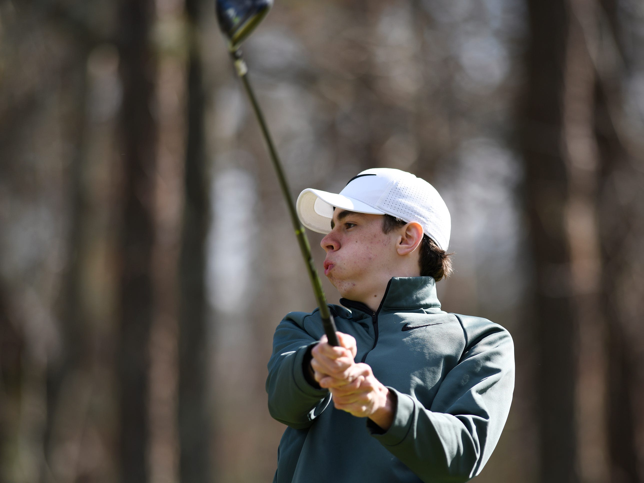 Austin Carney of Pinelands Regional High School ccompetes at the Ocean County Tournament on April 15, 2019,  at Sea Oaks in Little Egg Harbor. Toms River North's Connor Bekefi emerged as the individual champion with a 3-over-par 75, four shots better than teammate Leo Kane. Toms River North successfully defended its team title, posting a total of 336, which was 18 shots better than Southern. Brick Memorial finished third.
