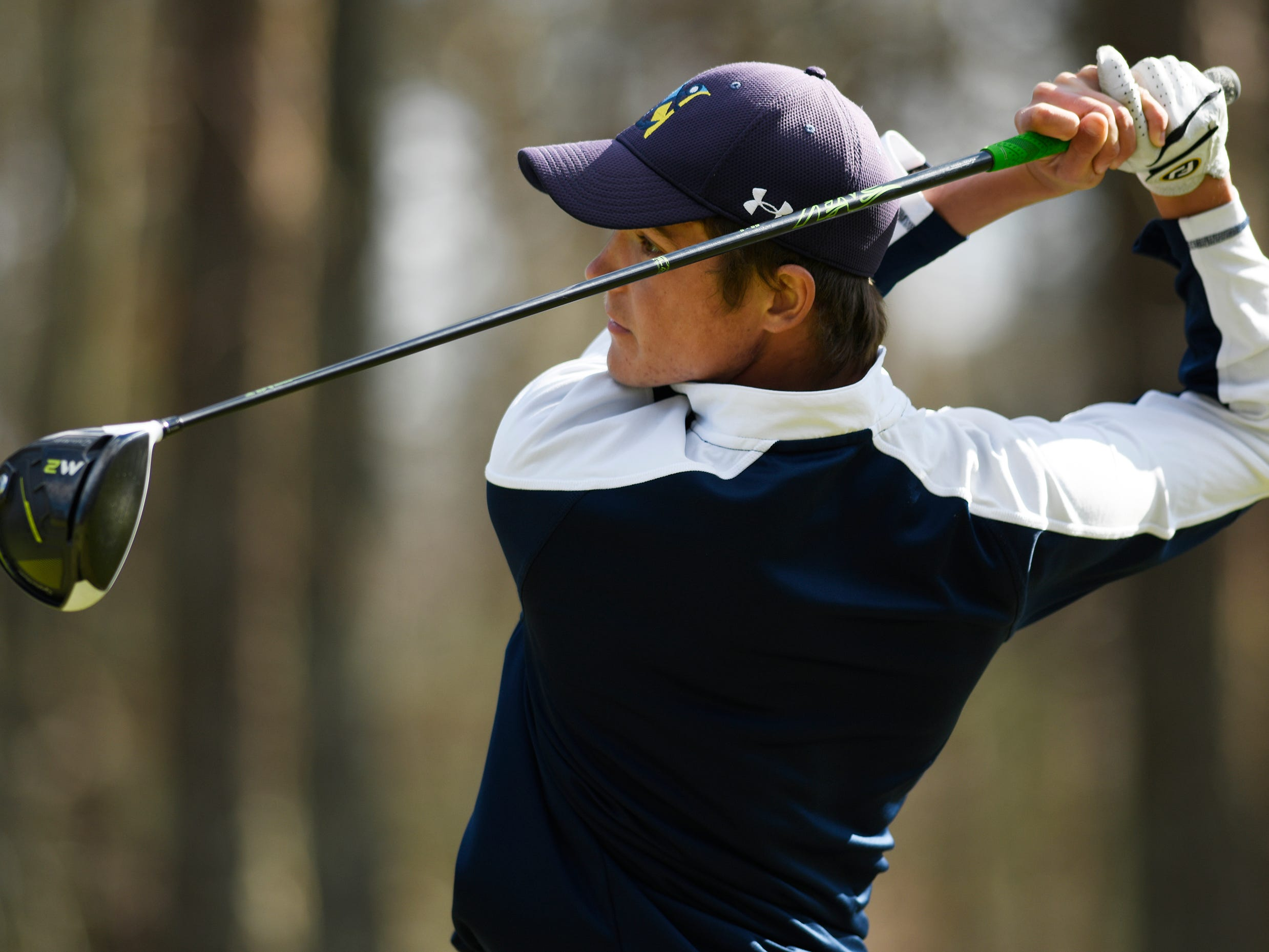 Connor Bekefi of Tome River North competes at the Ocean County Tournament on April 15, 2019,  at Sea Oaks in Little Egg Harbor. Bekefi emerged as the individual champion with a 3-over-par 75, four shots better than teammate Leo Kane. Toms River North successfully defended its team title, posting a total of 336, which was 18 shots better than Southern. Brick Memorial finished third.