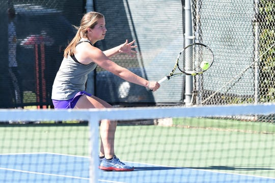 Wylie's Trinity Miller returns a shot during the District 4-5A tournament earlier this month. Miller won the girls singles title and will take that momentum into the Region I-5A tournament in Lubbock.