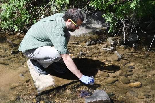 French Broad Riverkeeper Hartwell Carson takes a water sample from a stream at West Asheville Park that feeds into Hominy Creek and then the French Broad River on April 10, 2019.
