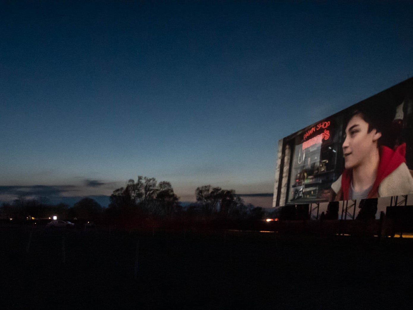 """Shazzam"" plays on one of the screens at The Capri Drive-In in Coldwater on Friday, April 5, 2019."