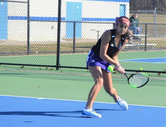 Lakeview's Aryana Banerji returns serve at No. 1 singles during a match with Harper Creek earlier this season.