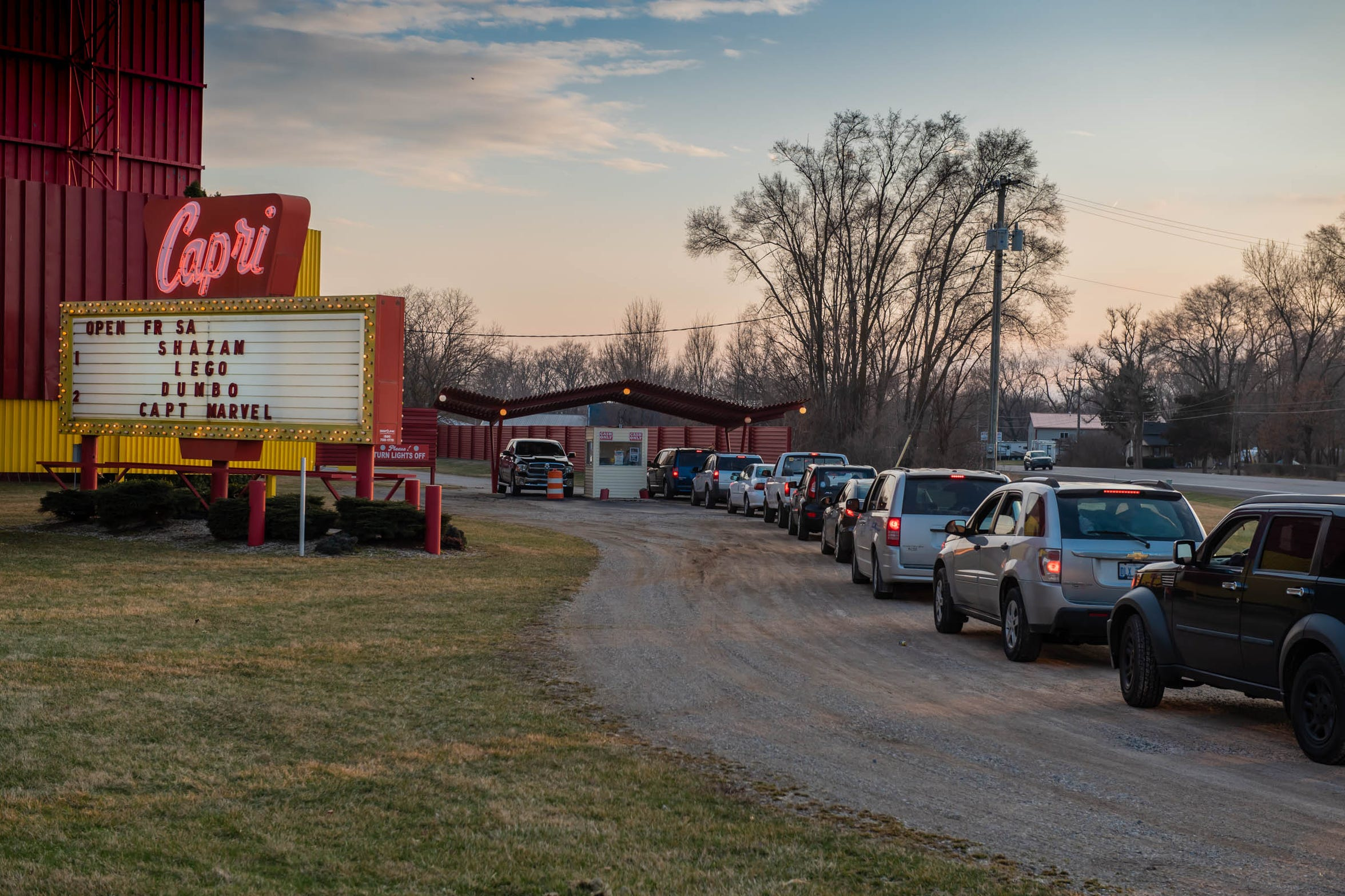 Moviegoers line up at the Capri Drive-In in Coldwater on Friday, April 5, 2019.