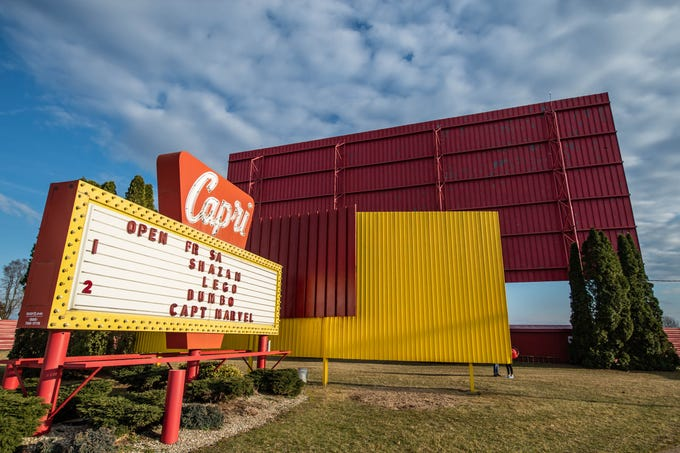 The entrance of the Capri Drive-In in Coldwater on Friday, April 5, 2019.