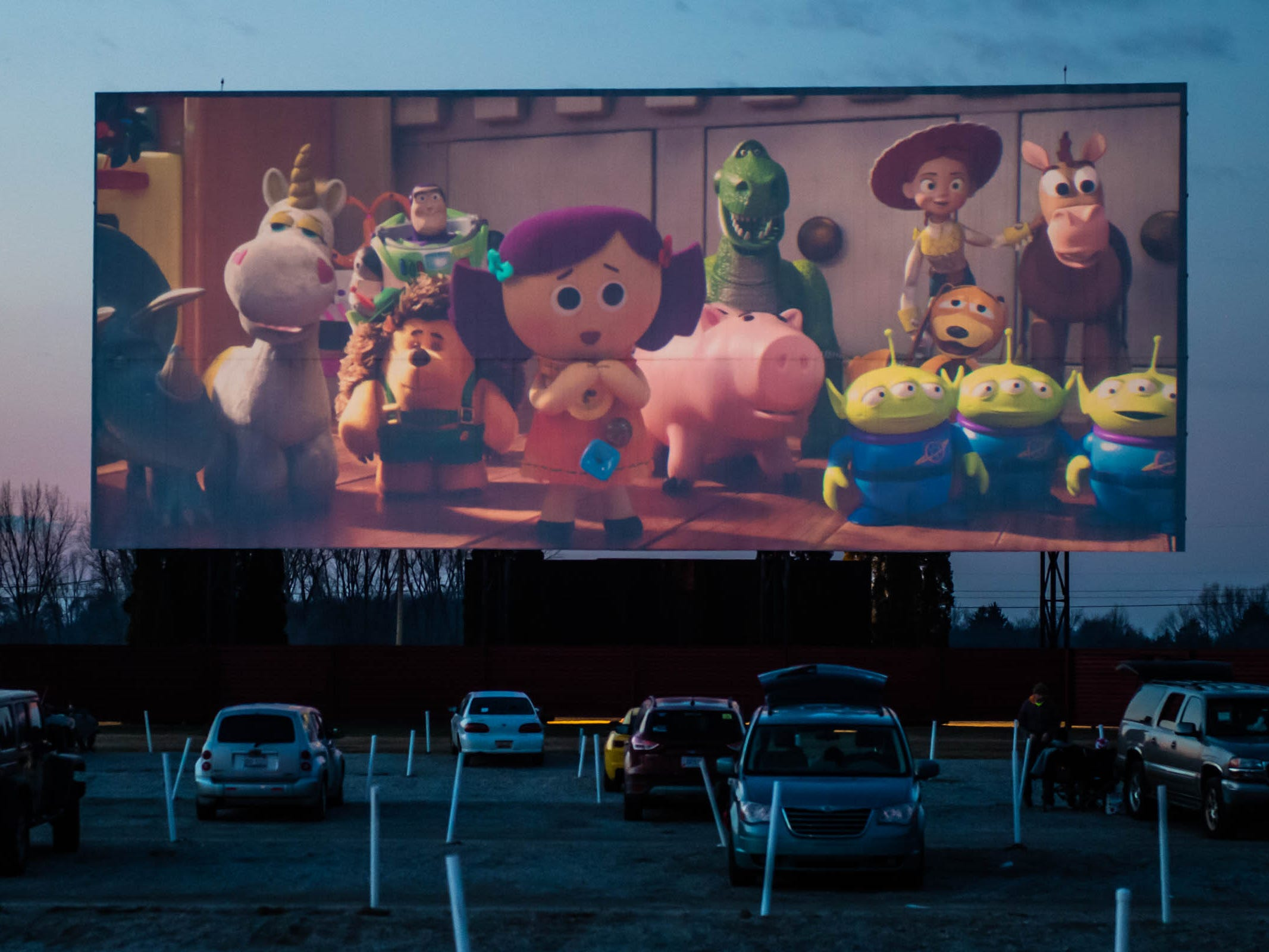 "A preview for ""Toy Story 4"" at The Capri Drive-In in  Coldwater on Friday, April 5, 2019."