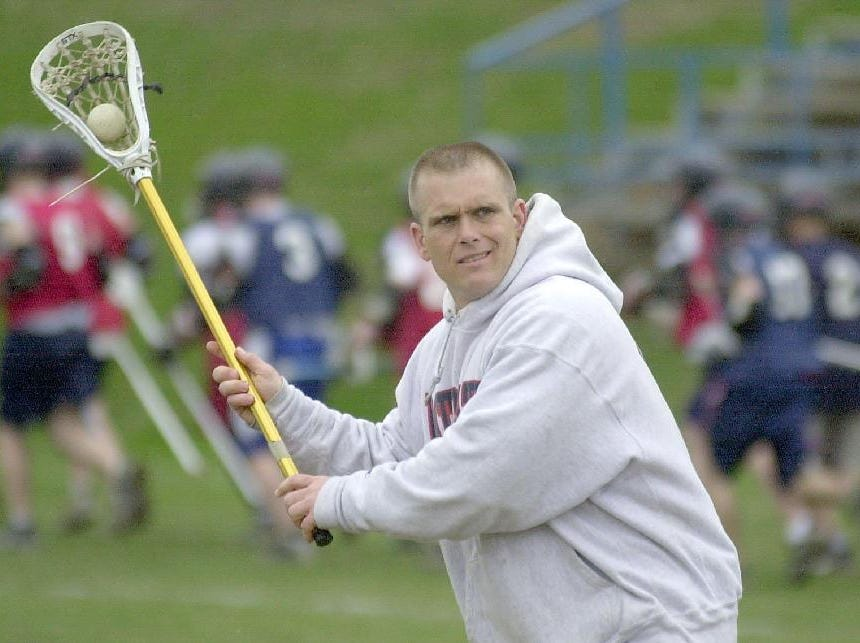 2001: Binghamton High School lacrosse coach David Garbarino practices with the team on Wed afternoon.