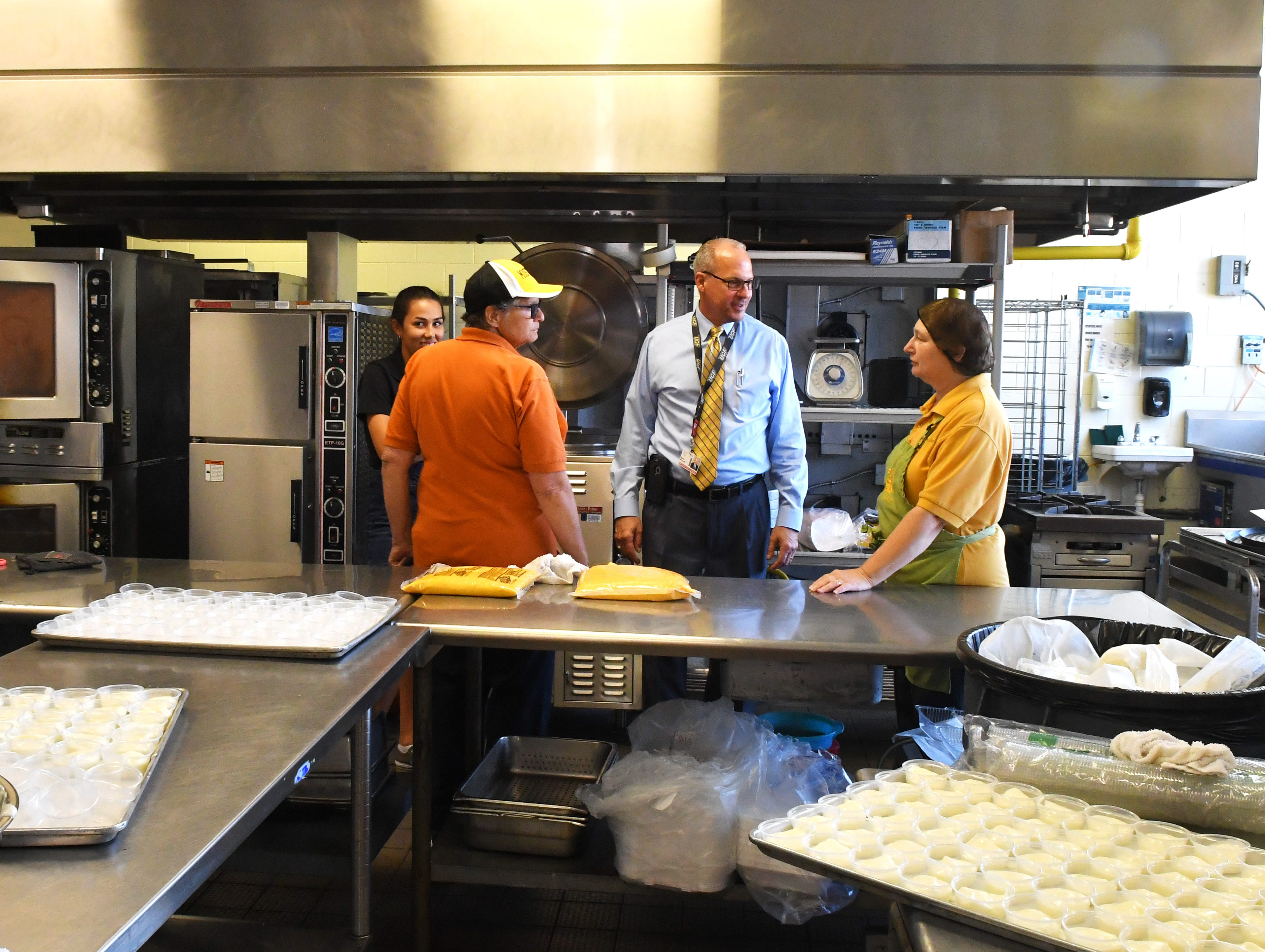 A tour of the kitchen area. Brevard County Superintendent of Schools Mark Mullins, Ed.D, was a student for a day at Merritt Island High School on Monday.