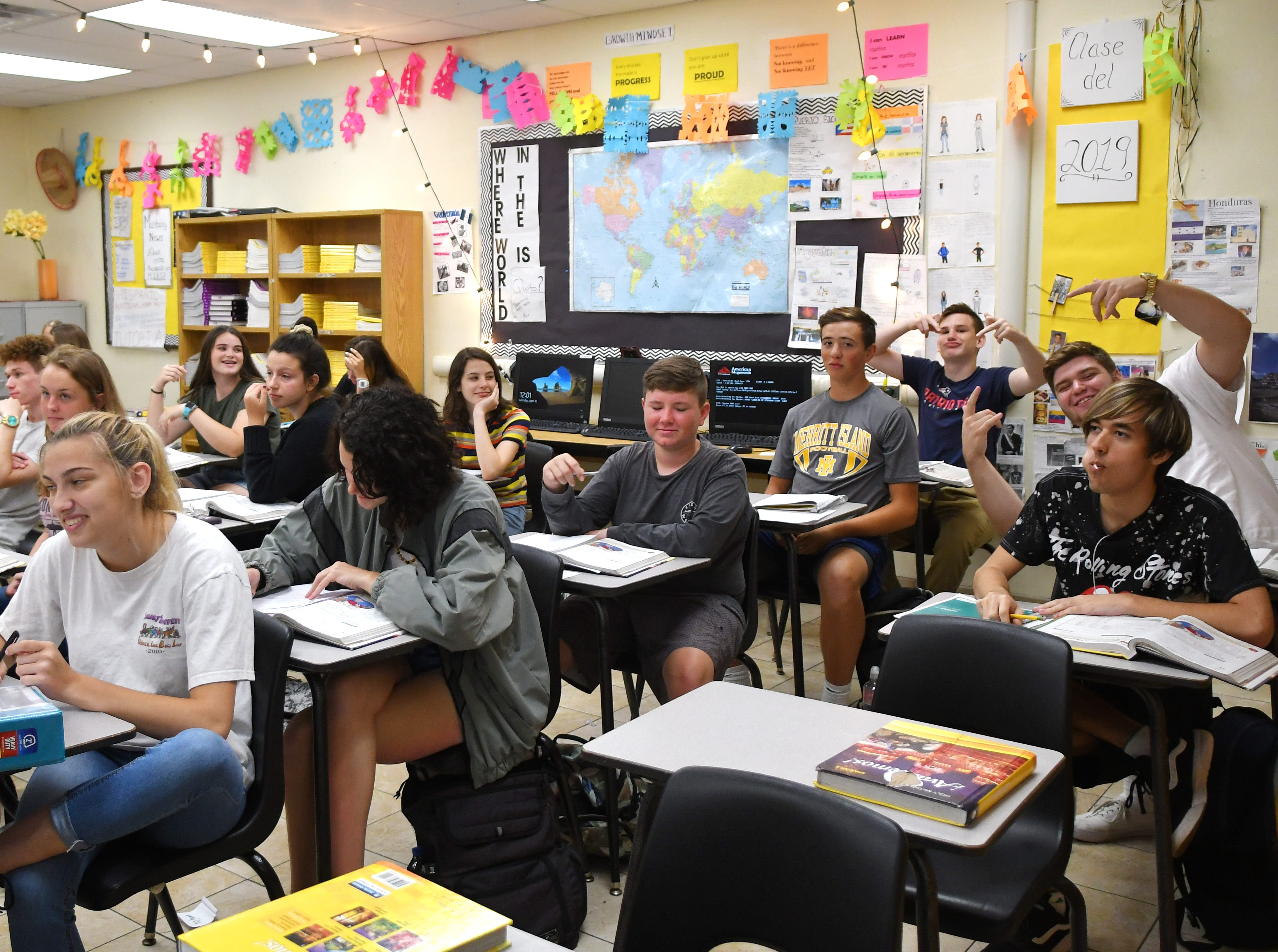 Superintendent of Schools Mark Mullins, Ed.D, was at Merritt Island High School on Monday. MIHS was chosen as Mullins' host school after helping him raise the most money for his breast cancer awareness campaign.