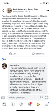 A screenshot captured an exchange between state Rep. Randy Fine and a member of the Space Coast Progressive Alliance.