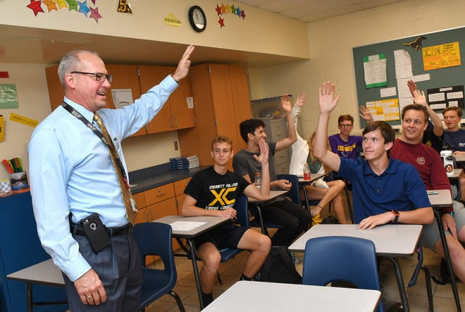 Brevard County Superintendent of Schools Mark Mullins, Ed.D, was a student for a day at Merritt Island High School on Monday. MIHS was chosen as Mullins' host school after helping him raise the most money for his breast cancer awareness campaign.