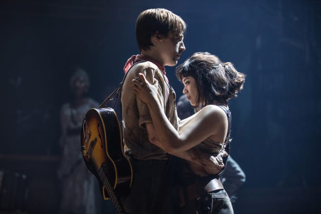 "Reeve Carney performs as Orpheus and Eva Noblezada is Eurydice in ""Hadestown,"" the Broadway production created by Vermont native Anais Mitchell."
