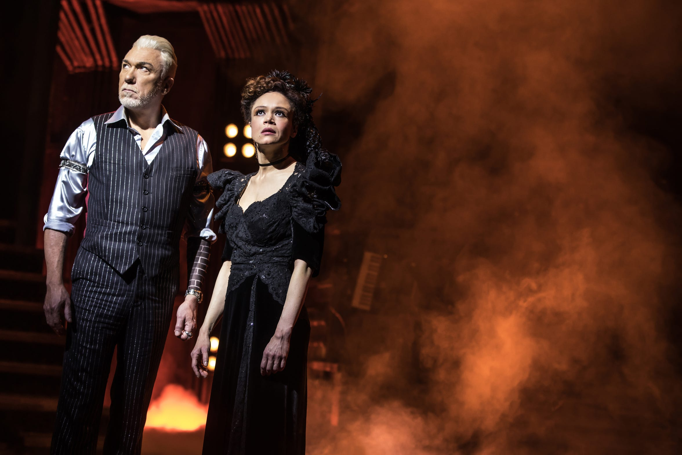 "Patrick Page and Amber Gray are king and queen of the underworld in the Broadway production of Anais Mitchell's ""Hadestown."""