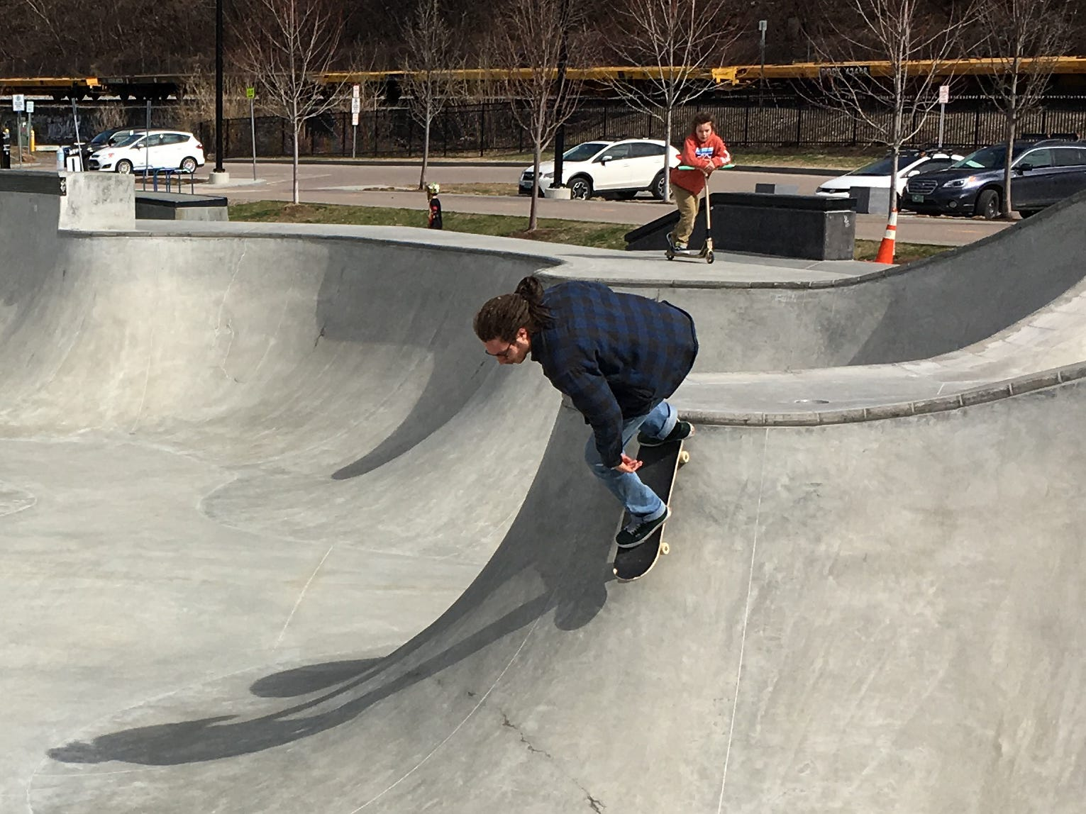 A skateboarder launches into the Andy A_Dog Williams Skatepark in Burlington on Sunday, April 14, 2019.