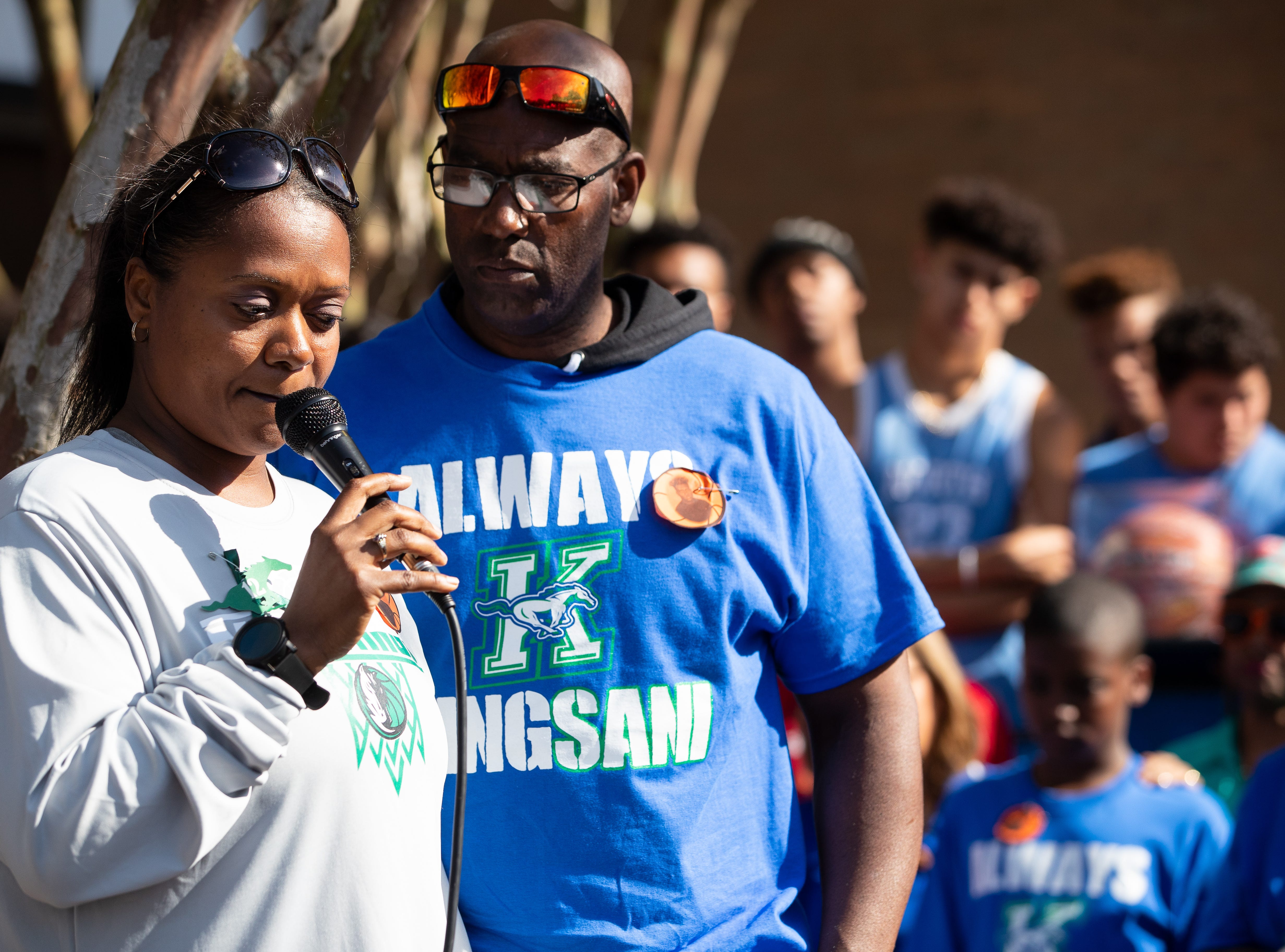 Kiwana Denson mother of King High School senior Je'Sani Smith speaks during a vigil for him on Monday, April 15, 2019. Je'Sani Smith's body was recovered Sunday afternoon near Bob Hall Pier after drowning on Whitecap Beach last week.