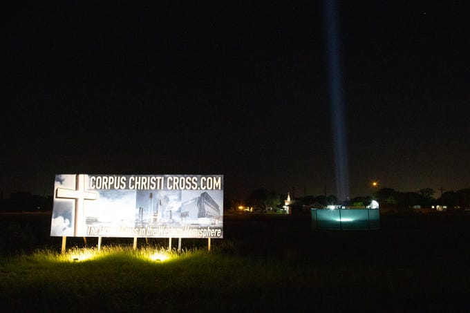 The site of the planned 230-foot Corpus Christi Cross along Interstate Highway 37, near Carbon Plant Road. The city's name translated from Latin means 'Body of Christ.'