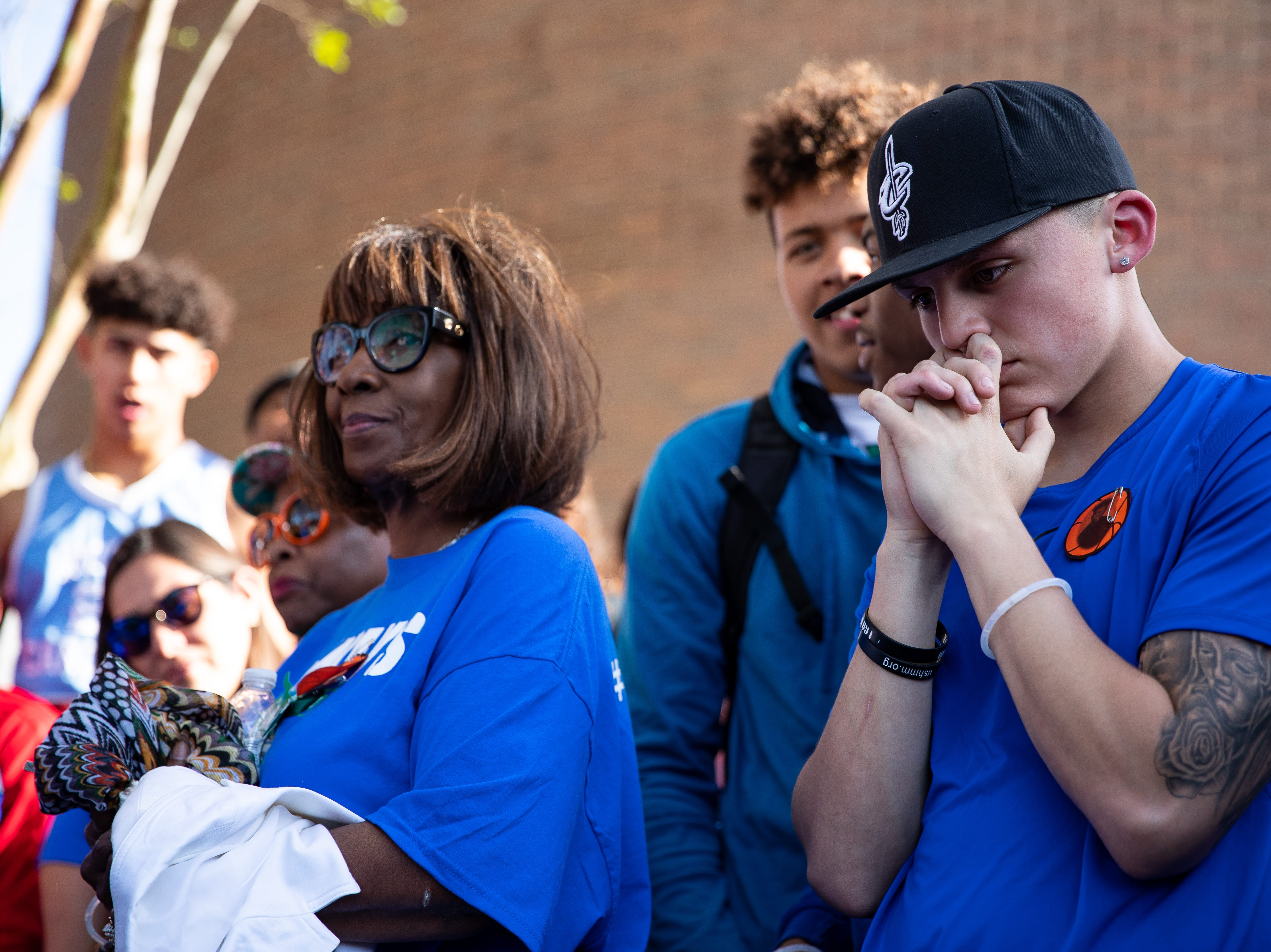 King High School students gather for a vigil remembering senior Je'Sani Smith on Monday, April 15, 2019. Je'Sani Smith's body was recovered Sunday afternoon near Bob Hall Pier after drowning on Whitecap Beach last week.