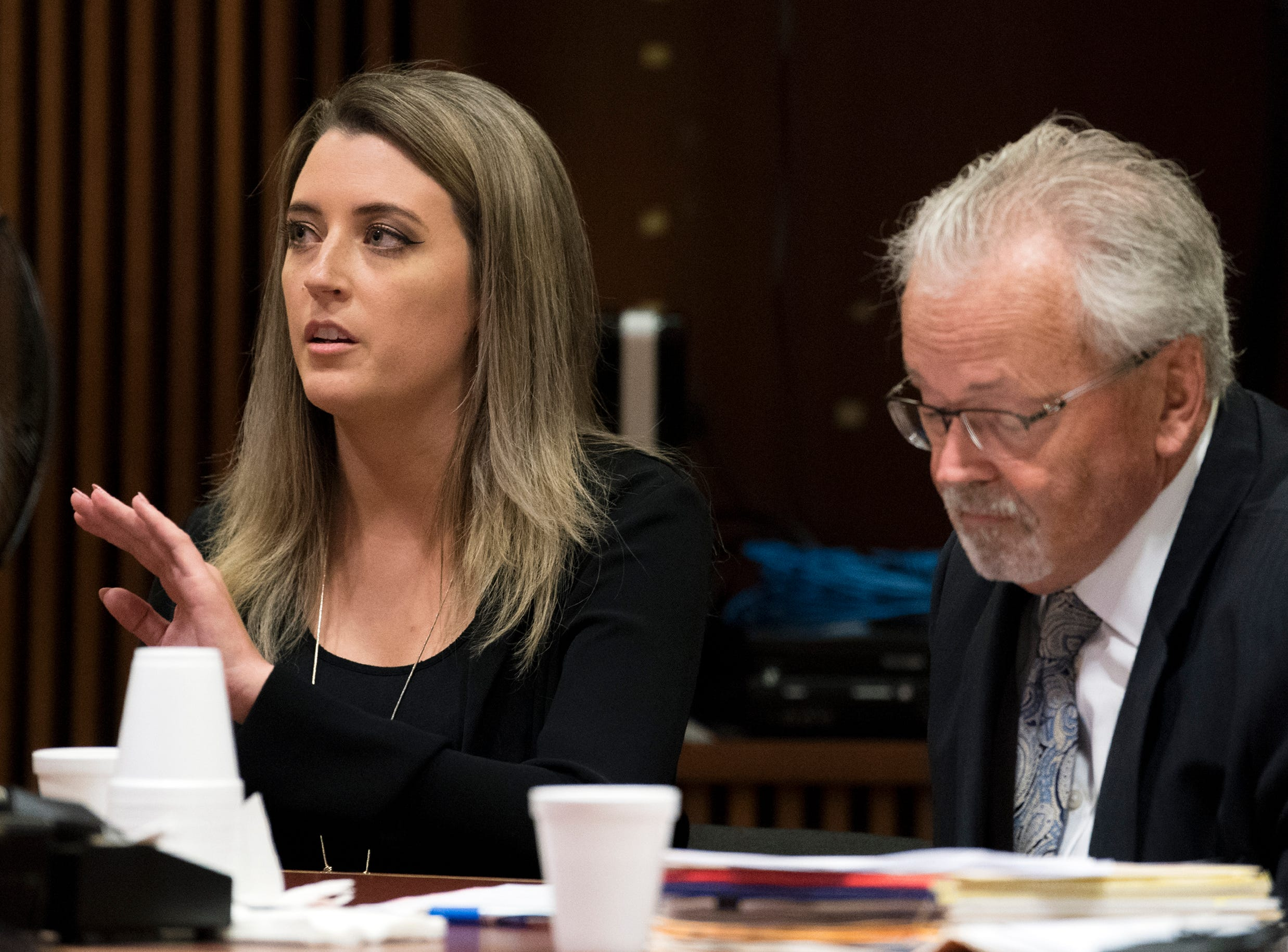 Kate McClure appears in court Monday, April 15, 2019 at Burlington County Superior Court in Mount Holly, N.J. McClure pleaded guilty to a state charge in a 'good Samaritan' scam of GoFundMe donors and faces four years in jail.