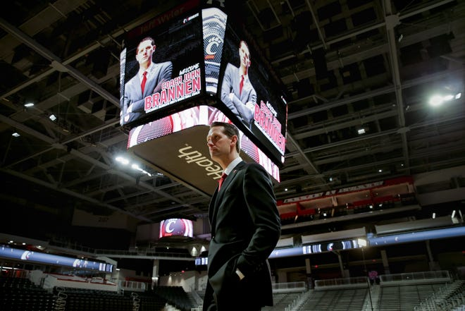 John Brannen is introduced as men's basketball head coach at the University of Cincinnati, Monday, April 15, 2019, at Fifth Third Arena in Cincinnati. Brannen formerly coached at Northern Kentucky University.