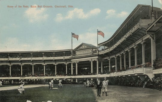 A postcard circa 1907 shows the grandiose Palace of the Fans grandstand at the Reds' League Park.