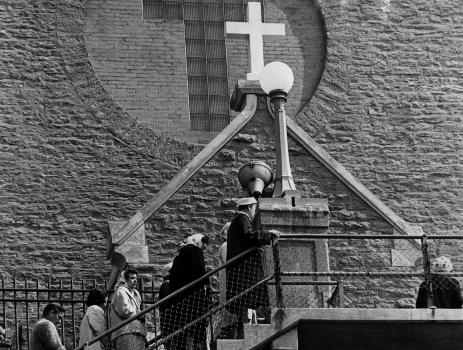 APRIL 16, 1965: On Stairway Of Sorrow: Greater Cincinnatians, starting at midnight, began climbing to the summit of their own Calvary, step by step, prayer by prayer, thousands of them climbed toward the Immaculata Church, an old stone church at Pavilion and Guido streets, atop Mount Adams.