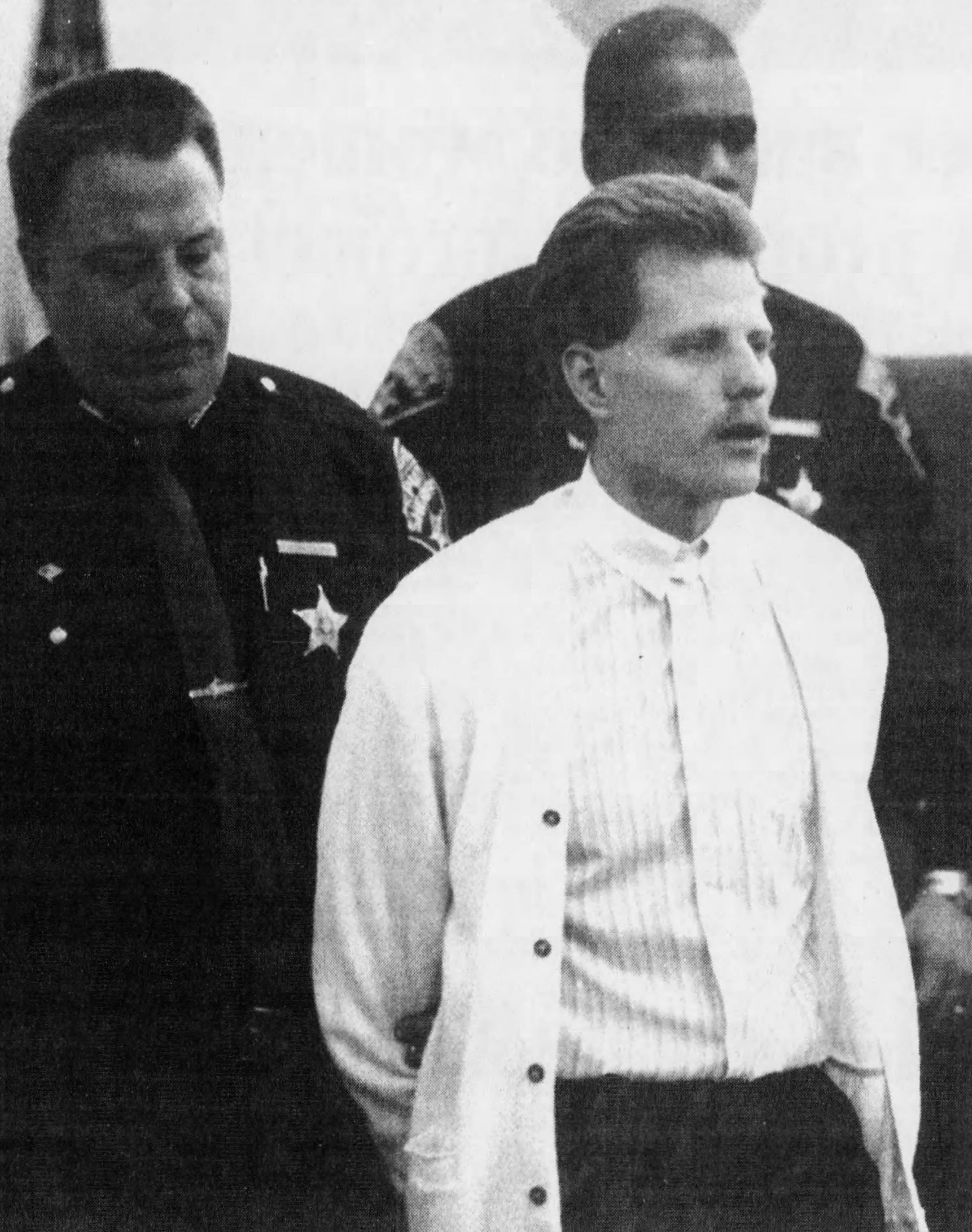 Jeffrey Wogenstahl being led into the courtroom on the day of his sentencing in February 1993.