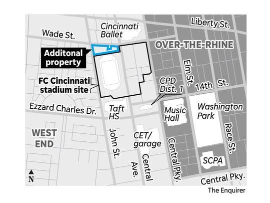 A map of FC Cincinnati's stadium expansion request.