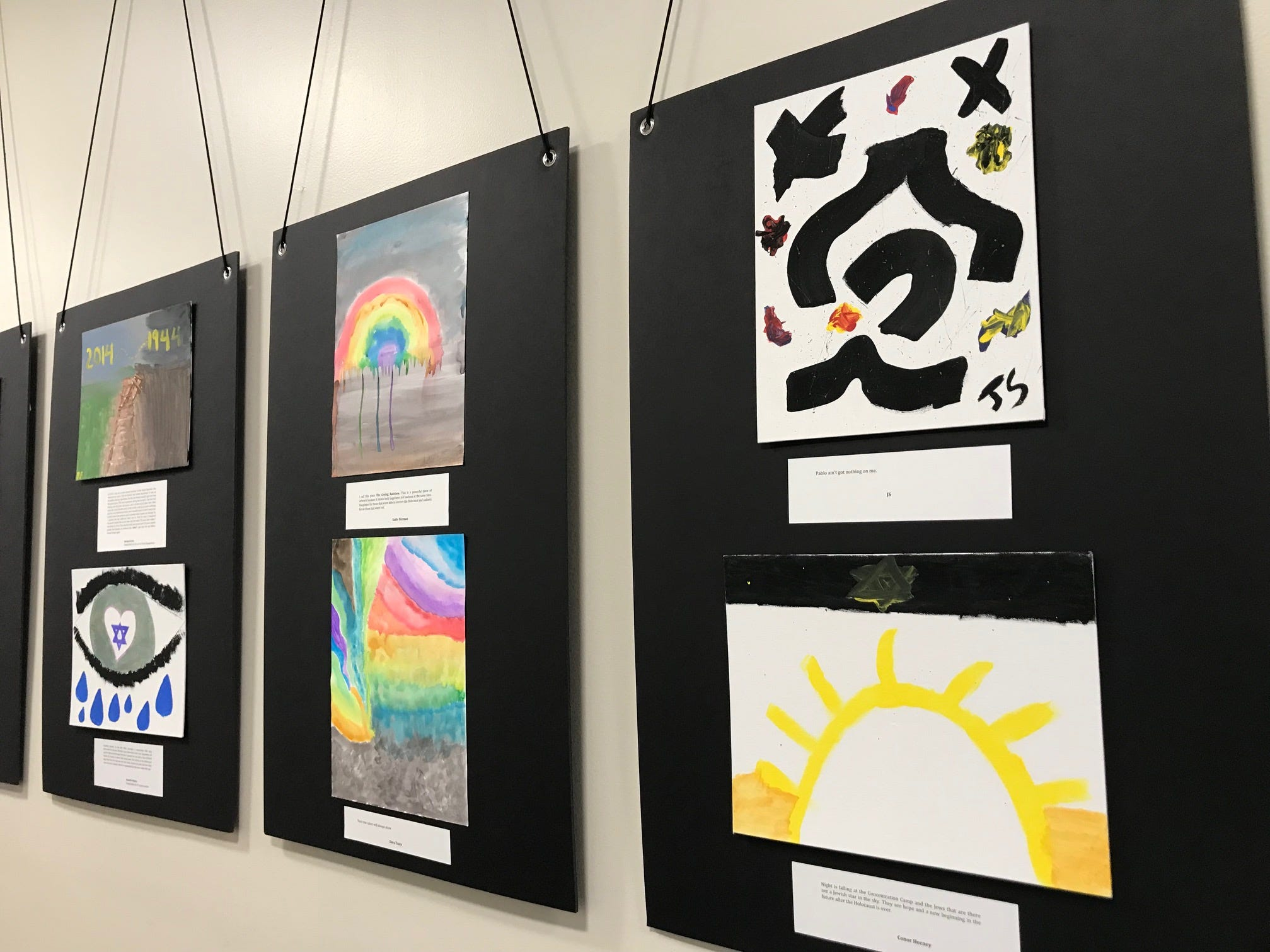 """The Shimon and Sara Birnbaum Jewish Community Center (JCC) Holocaust Memorial and Education Center held a Creative Arts Festival Open House entitled Voices of our Descendants through Story, Art and Film on Sunday, April 14. """"The Light from the Yellow Star"""" exhibit displayed Holocaust-related student artwork in the JCC main lobby. More than 75 local religious school students participated in the project."""