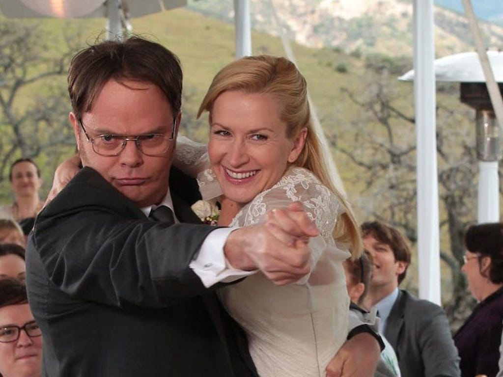 """Rainn Wilson, left, played Dwight Schrute and Angela Kinsey played Angela Martin on NBC's """"The Office."""""""