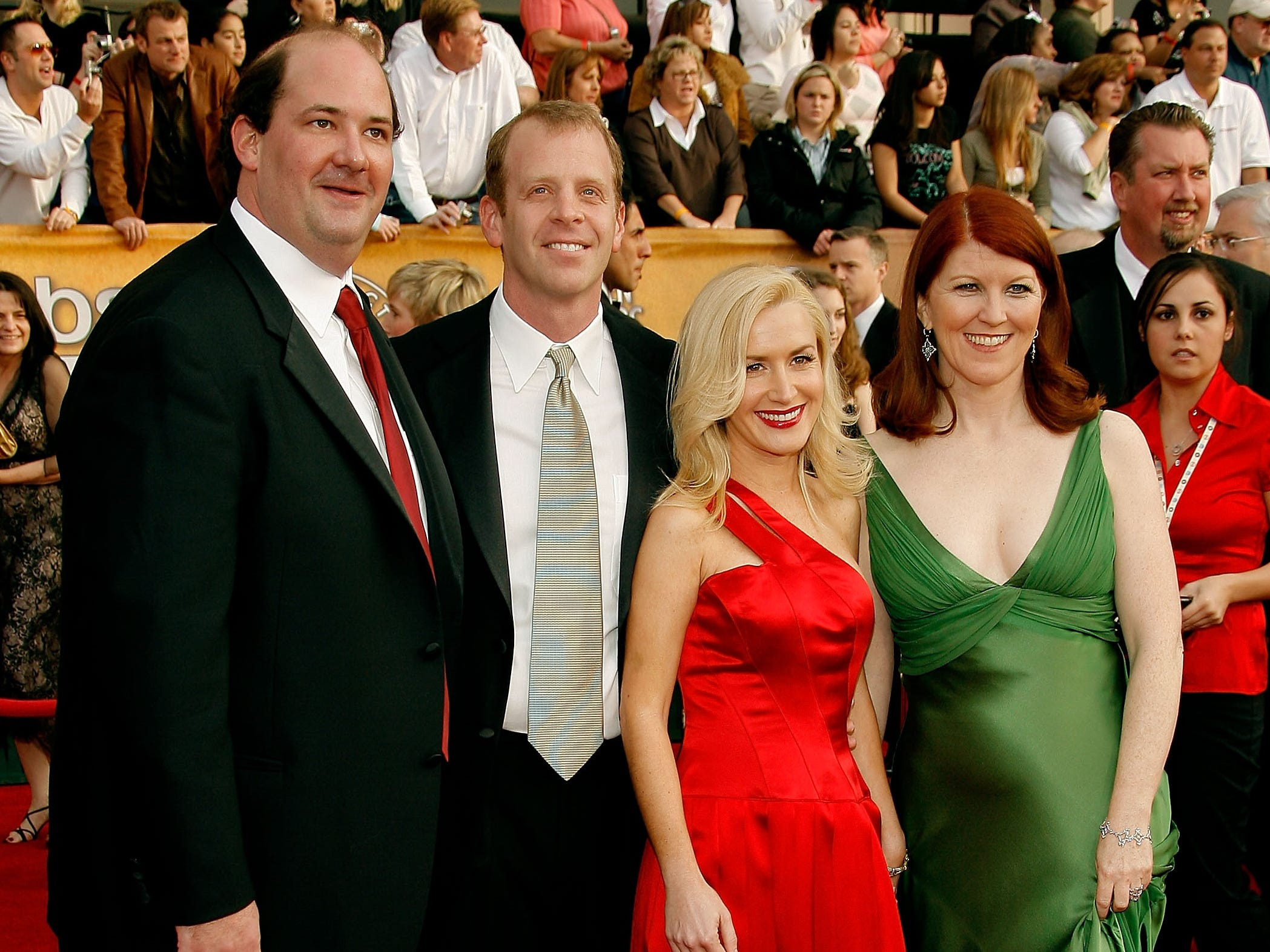 """""""The Office"""" castmembers, from left, Brian Baumgartner (Kevin), Paul Lieberstein (Paul), Angela Kinsey (Angela), and Kate Flannery (Meredith) arrive at the 13th Annual Screen Actors Guild Awards held at the Shrine Auditorium on January 28, 2007 in Los Angeles, California."""