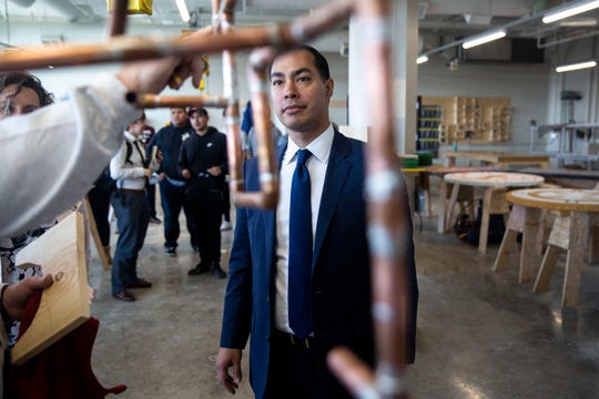 Presidential hopeful Julián Castro tours the Central Campus skilled trades academy on Monday, April 15, 2019, in Des Moines.