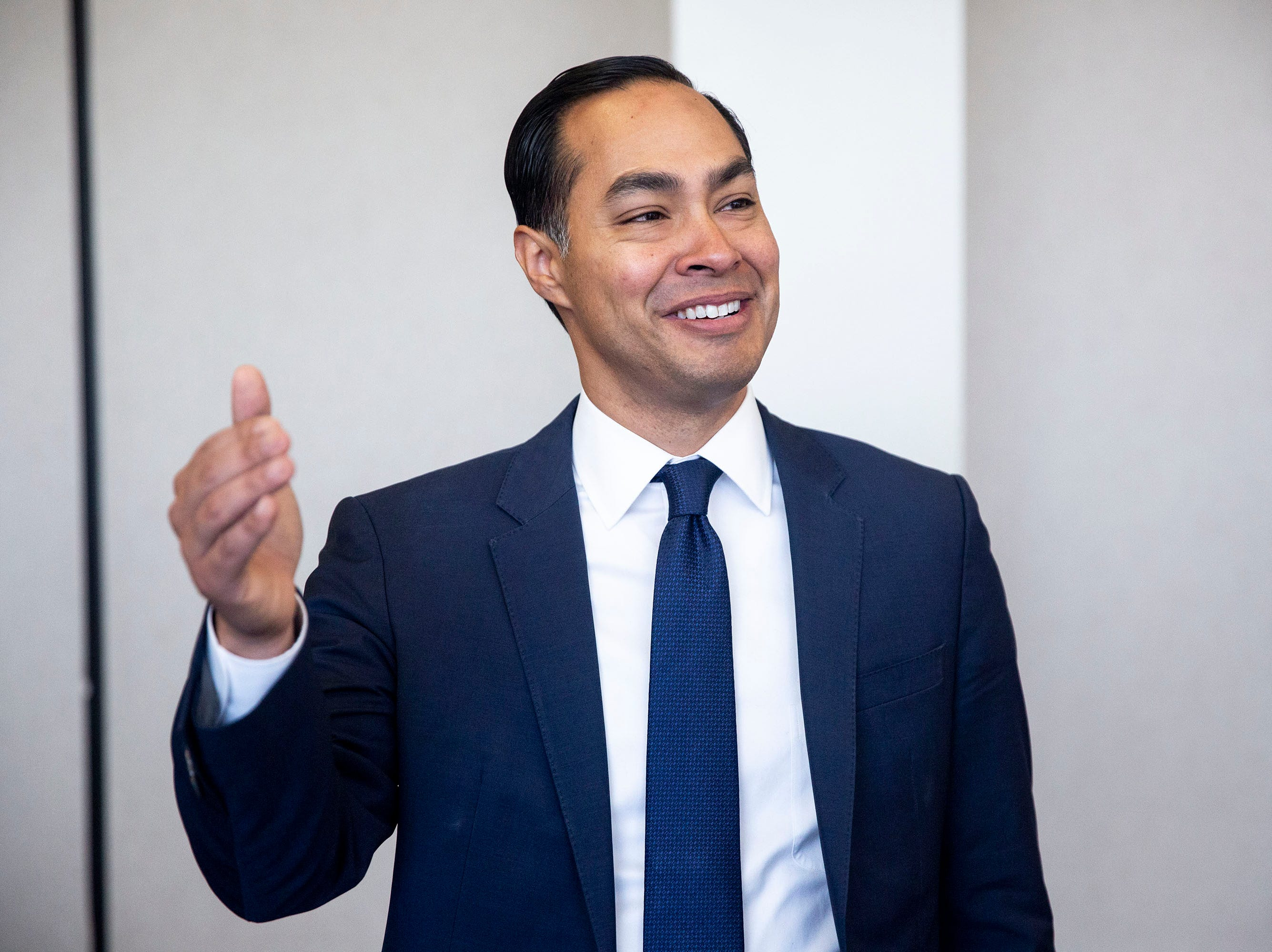 Presidential hopeful Julián Castro meets with administrators, faculty and students before touring Des Moines Public Schools' Central Campus and the Skilled Trades Academy on Monday, April 15, 2019, in Des Moines.