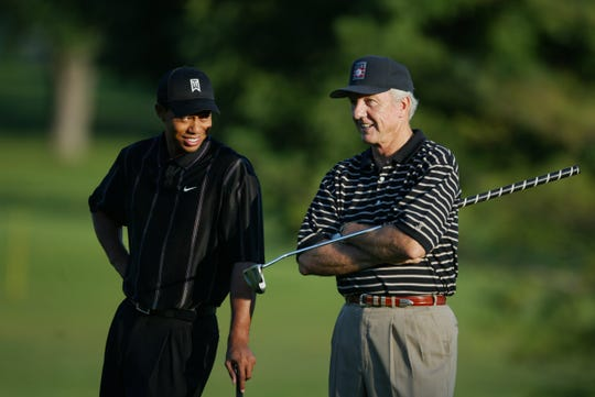 Tigers Woods, left, and Tigers great Al Kaline hung out during the Pro-Am at  the 2003 Buick Open in Grand Blanc.
