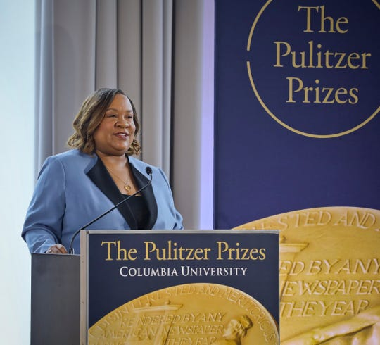 Dana Canedy, the administrator of The Pulitzer Prizes, make announcement of winners Monday April 15, 2019, in New York. (AP Photo/Bebeto Matthews)