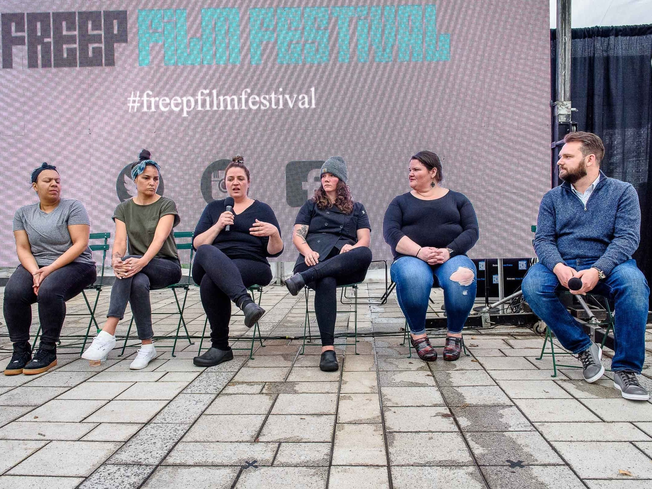 "The Freep Film festival presented the Film 'The Heat: A Kitchen Revolution"" at Beacon Park following brunch at Lumen restaurant April 14, 2019. A panel discussion lead by mediator Mark Kurlyandchik with chefs Gabby Milton of Lumen, Sarah Welsh of Marrow, Emmele Herrod of Hazel and Kiki Louya and Rohani Foulkes, owners of Folk."