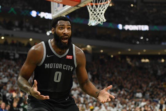 Detroit Pistons' Andre Drummond reacts to an official's call during Game 1 against the Milwaukee Bucks at Fiserv Forum on April 14, 2019 in Milwaukee.