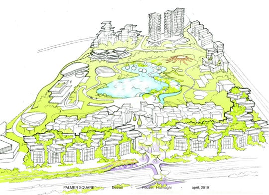 The Palmer Square concept rendering showing Detroit's existing Palmer Park converted to mixed-use development around a central lake and greenspace.