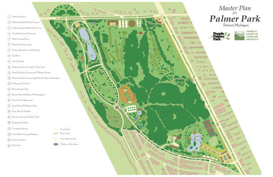 Rendering shows the master plan developed for the renovation of Palmer Park from a team led by planner Robert Gibbs. The master plan would maintain the nearly 300-acre park as recreational greenspace as it has been for more than a century.