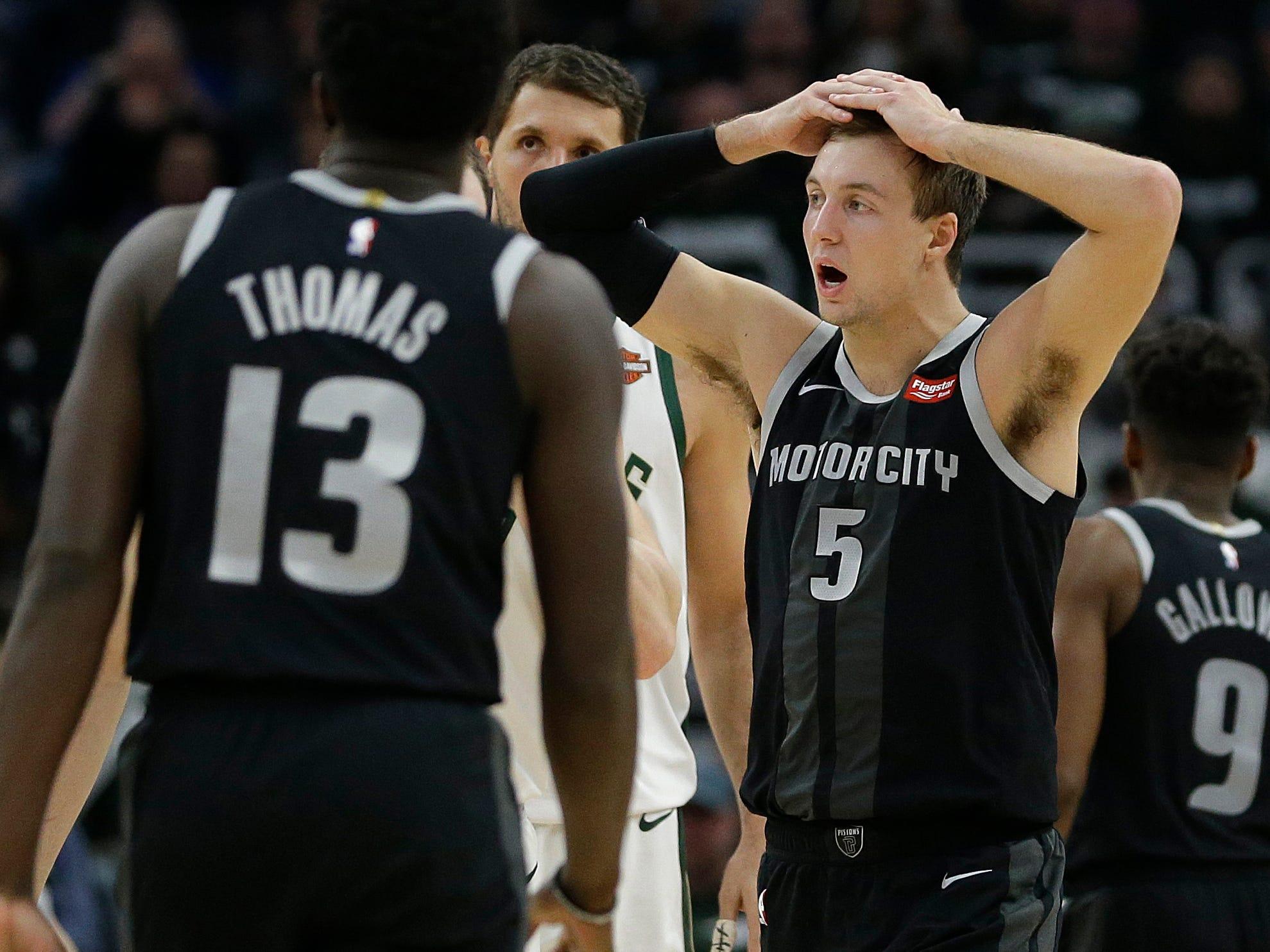 Detroit Pistons' Luke Kennard (5) reacts during the second half of Game 1 against the Milwaukee Bucks, Sunday, April 14, 2019, in Milwaukee. The Bucks won 121-86.