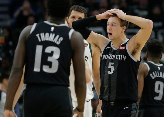Luke Kennard (5) reacts during the second half of Game 1 against the Bucks on Sunday.