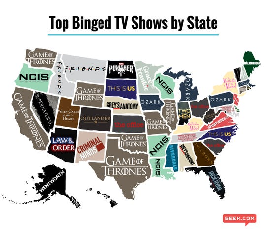 "A map of the ""Top Binged TV Shows by State"" made after a survey conduced by Geek.com"