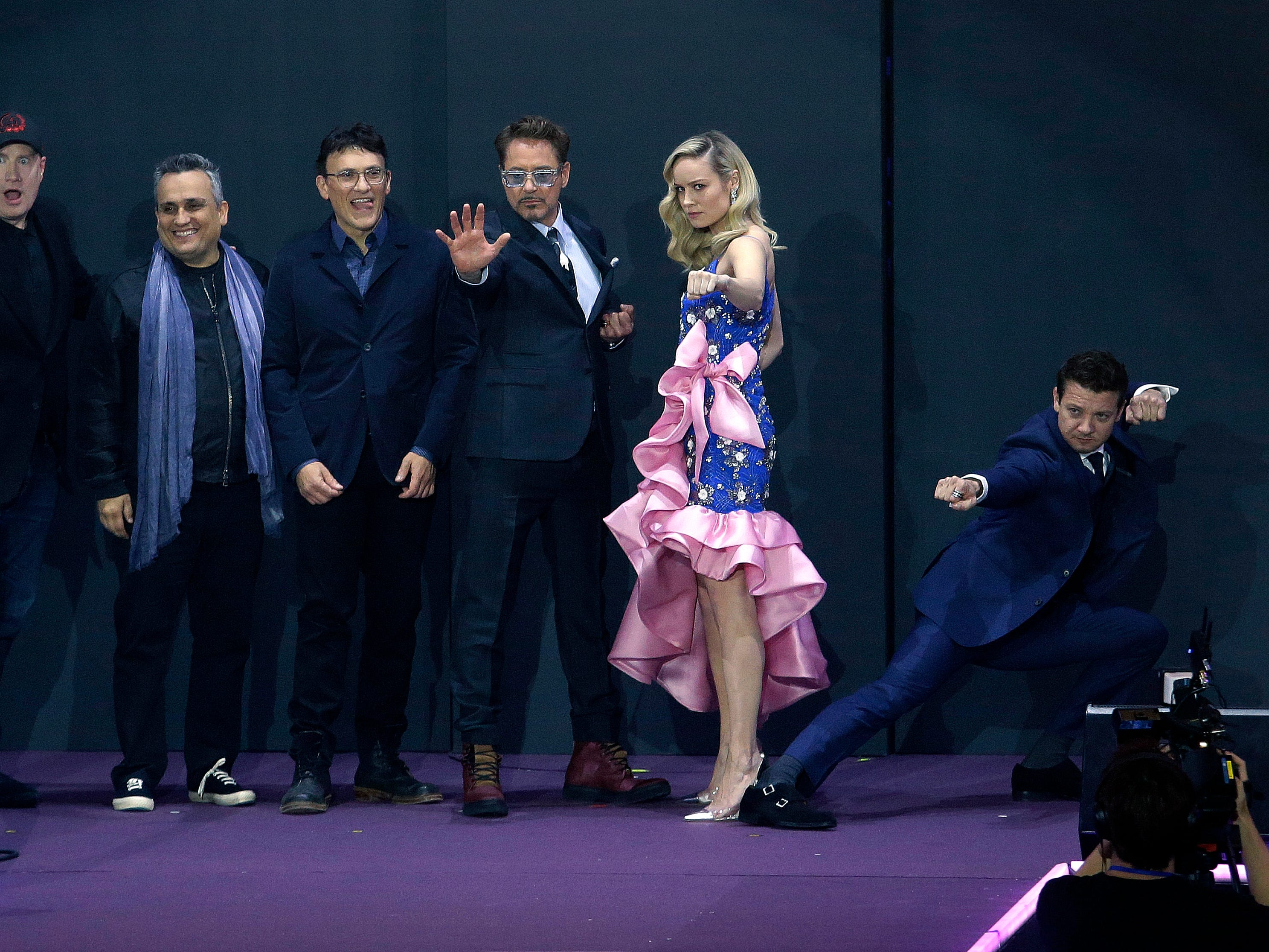 """From right, actor Jeremy Renner, actress Brie Larson, actor Robert Downey Jr., director Anthony Russo, Joe Russo and Kevin Feige, president of Marvel Studios, pose at an event to promote their latest film """"Avengers Endgame"""" in Seoul, South Korea, Monday, April 15, 2019. The movie will open on April 24 in South Korea."""