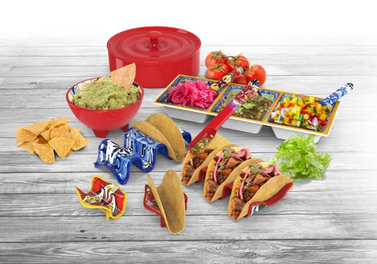 This festive selection from Prepara that includes Taco Holders (single and multi), Taco Spoons, the 3-Section Taco Tray and the Tortilla Savor.
